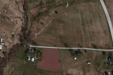 Using Google Maps the purple pin points to the approximate location where the cut stones were cleared and the ground hogs dug up bones. This is the place he believes could have been a cemetery.