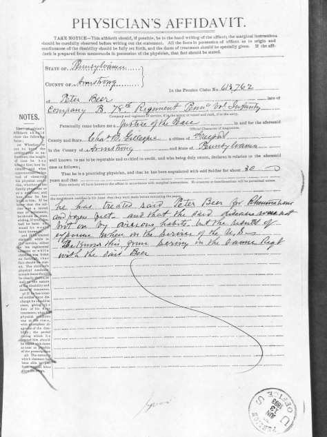 Physician's Affidavit for Pension Application from Captain Charles B. Gillespie, M.D.