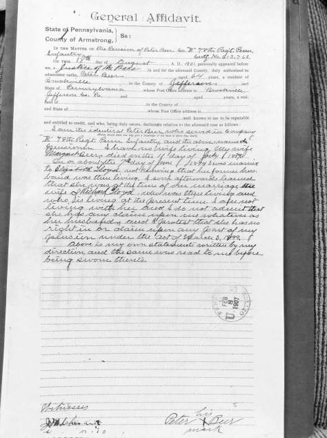 General Affidavit from Peter Beer dated 18 August 1901