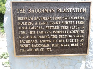 The Baughman Plantation plaque located to the left of the gate.