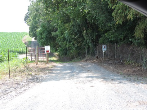 This is the view from Pinewoods Road of the road which goes back to the cemetery.